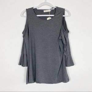Azz Fashion Wear top cold shoulder ruffle gray S/M